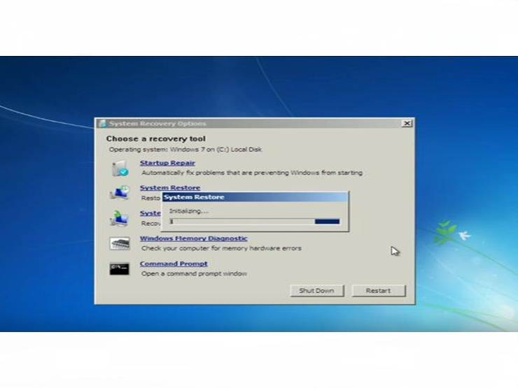 Choose a system recovery tool
