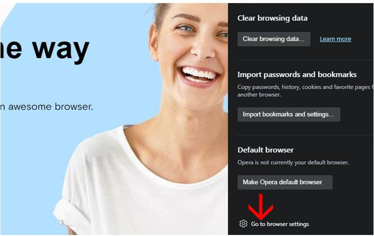 Go to browser settings of opera