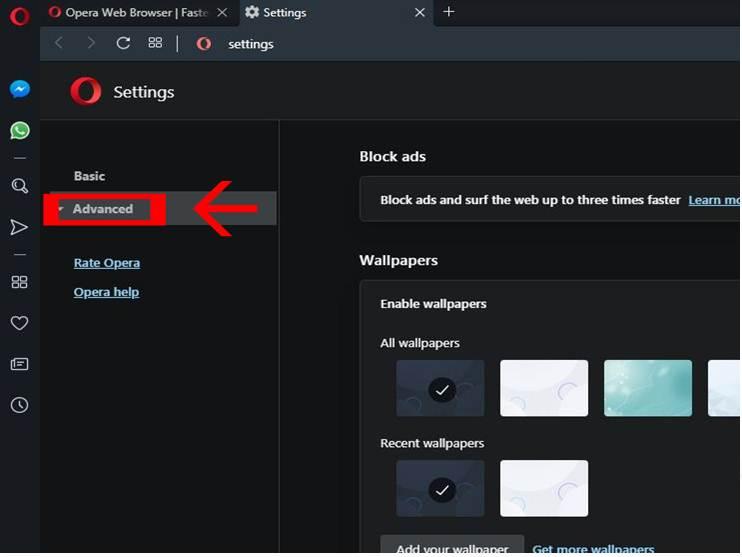 click advanced settings