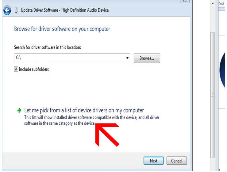 pick a driver from a list of device drivers
