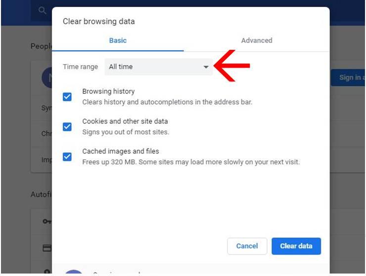 Clear all browsing data