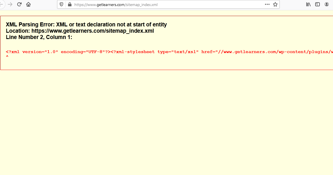 XML Parsing Error in Sitemap
