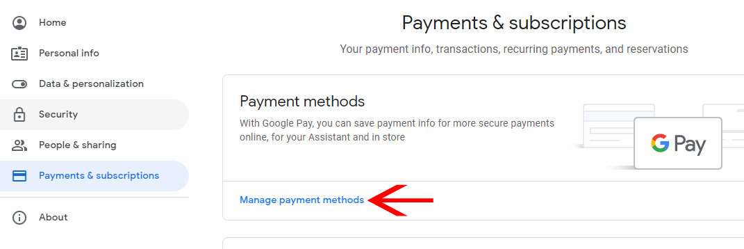 manage payments method
