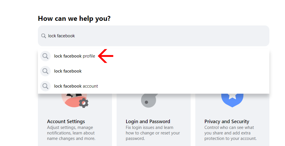 Search box of facebook